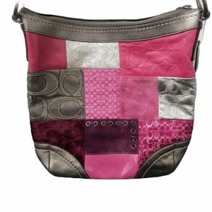 COACH PATCHWORK Silver & Pink Leather Cross-body